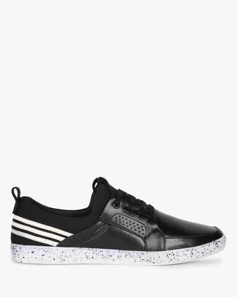 Lace-Up Sneakers With Contrast Sole By AJIO ( Black )