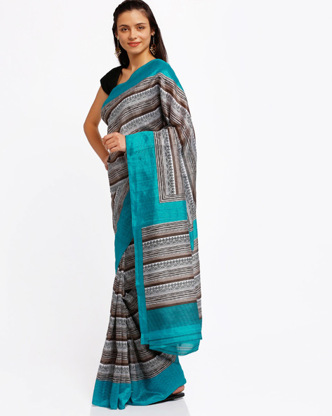 Printed Bhagalpuri Art Silk Saree By Lookslady ( Blue )