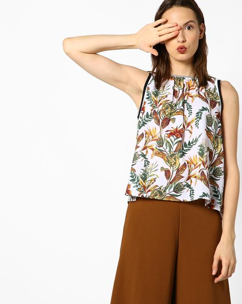 Floral Print Boxy Top By AJIO ( Offwhite )