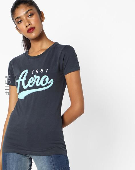Crew-Neck T-Shirt With Appliqué Branding By Aeropostale ( Grey )