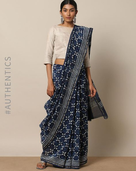 Handblock Indigo Print Chanderi Saree With Zari By Indie Picks ( Indigo ) - 460146829001