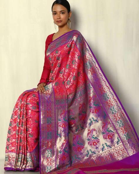 Patola Style Brocade South Silk Saree By Pretty Woman ( Fuchsia )