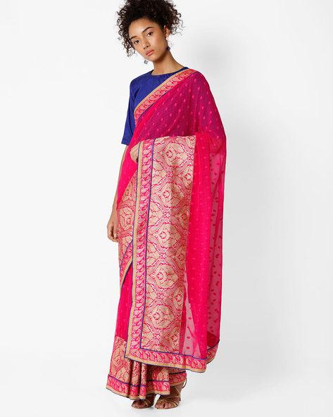 Floral Print Saree By Amori ( Pink )