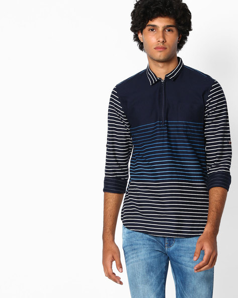 Cotton Slim Fit Shirt By The Indian Garage Co ( Dkblue )