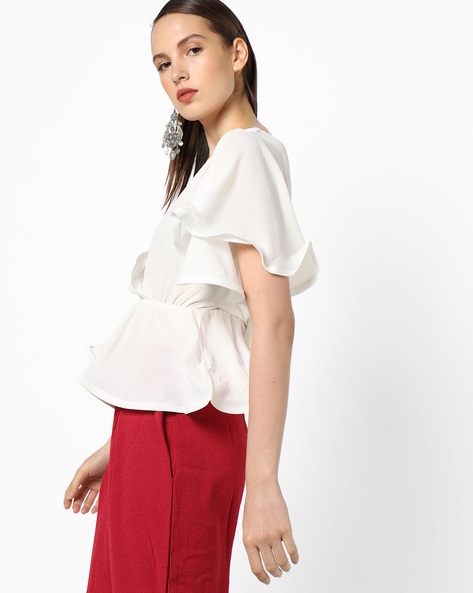 Peplum Top With Surplice Neckline By OEUVRE ( White )