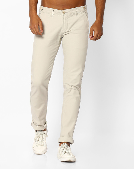 Skinny Fit Stretch Trousers By BASICS ( Ecru )