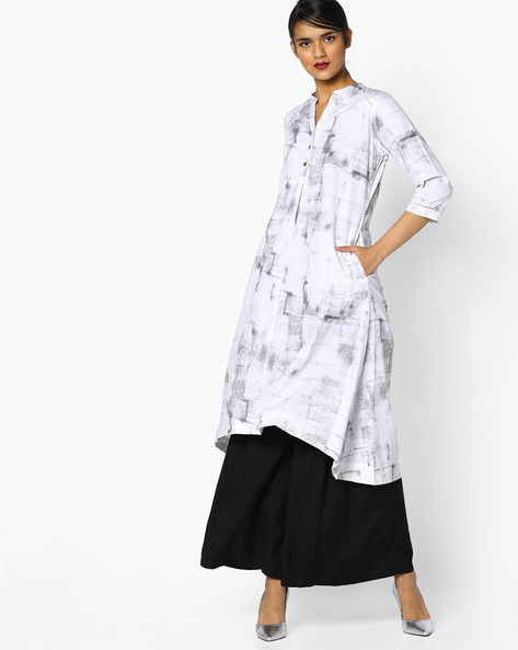 A-Line Kurta With Mandarin Collar By PE IW Casual ( Grey )