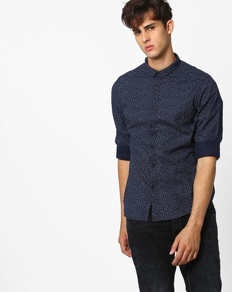 Floral Print Slim Fit Shirt By AJIO ( Blue )