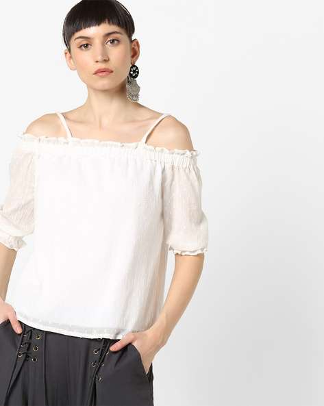 Strappy Top With Swiss Dots By AJIO ( White )
