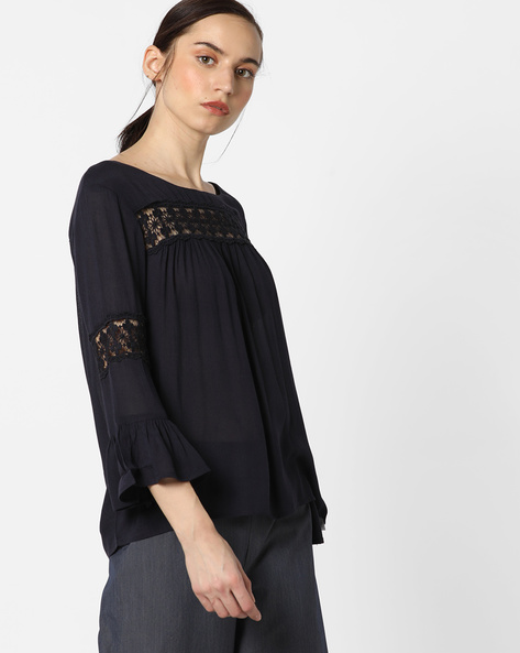 Crew-Neck Top With Lace Insets By Only ( Ltaqua )