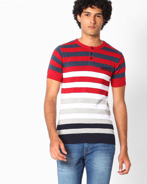 Striped Henley T-shirt With Ribbed Hems By Teamspirit ( Red )