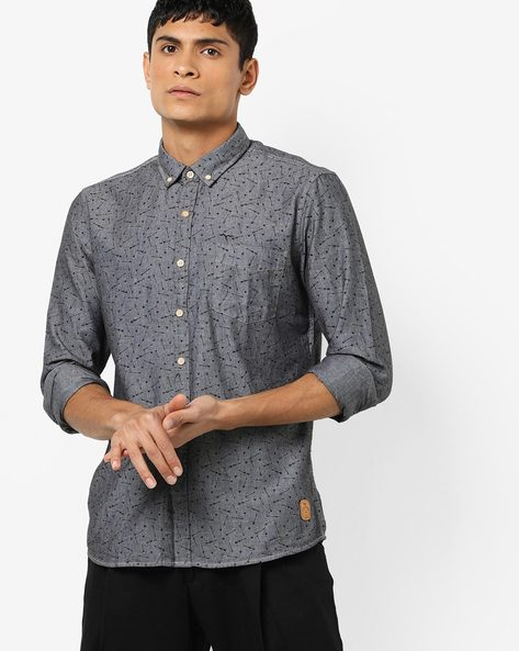 Printed Shirt With Button-Down Collar By FLYING MACHINE ( Assorted )