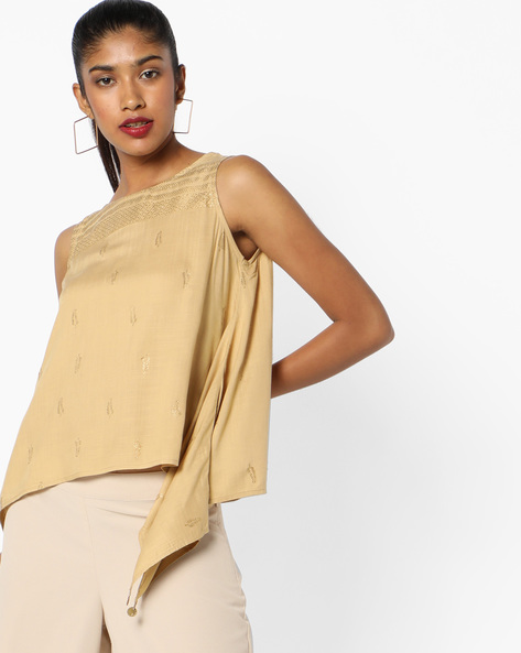 Sleeveless Top With Dipped Hemline By Global Desi ( Beige )