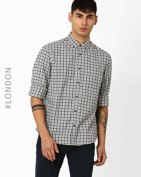 Checked Shirt With Patch Pocket By Marks & Spencer ( Grey )