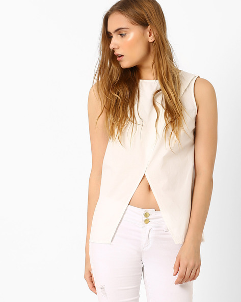 Sleeveless Top With Front Slit By Vero Moda ( White )