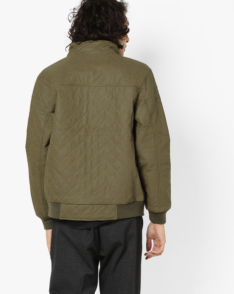 Quilted Bomber Jacket By AJIO ( Olive )