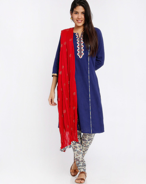 Printed Churidar Kurta With Dupatta By Trishaa By Pantaloons ( Blue )