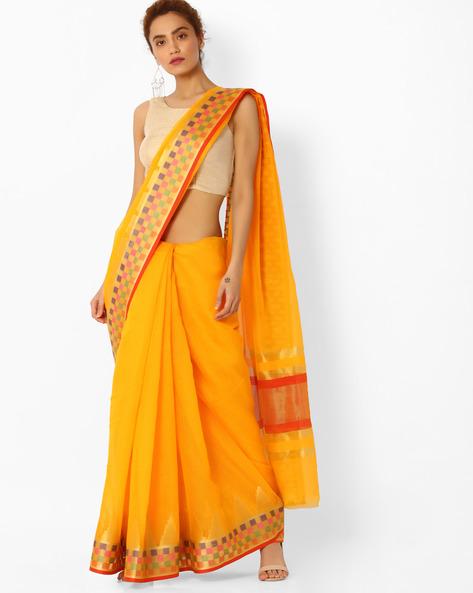 Handloom Saree With Checked Border By SHRIKALA ( Yellow )