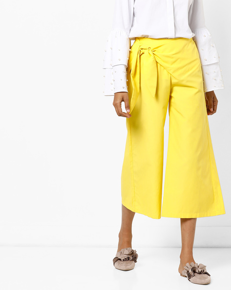 High-Rise Culottes With Tie-Up By AJIO ( Yellow )