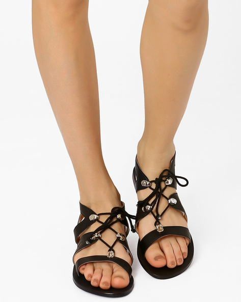 Gladiator Flat Sandals By AJIO ( Black )