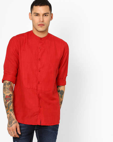 Cotton Shirt With Band Collar By British Club ( Red )