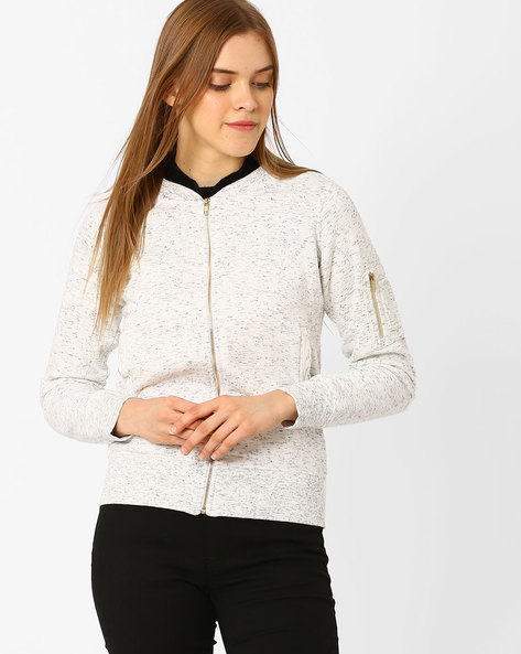 Zip-Front Sweatshirt With Ribbed Hems By TAANZ WOMENS ( Assorted )