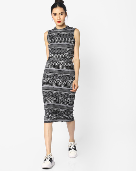 Printed Sheath Dress With Cut-Outs By Ginger By Lifestyle ( Black )