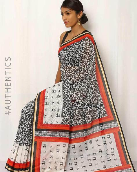Hand Block Print Chanderi Saree By Keri ( Black )