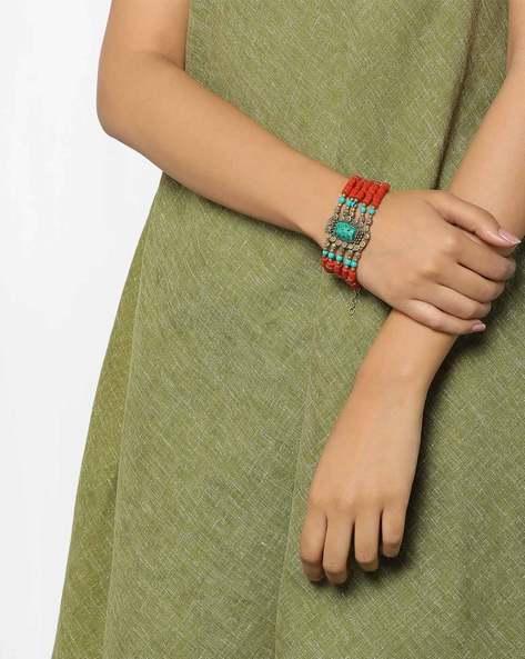 Multistrand Beaded Bracelet By GYPSYJ ( Red )