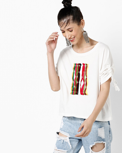 Crew-Neck T-shirt With Ruched Tie-Up Sleeves By AJIO ( Offwhite )