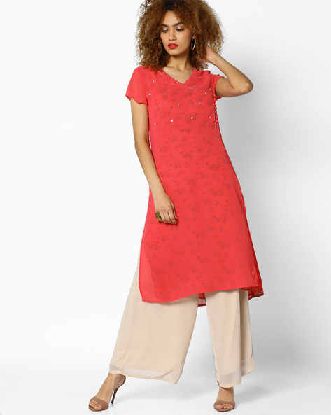 Layered Floral Print Kurta With Embellishments By AJIO ( Pink )