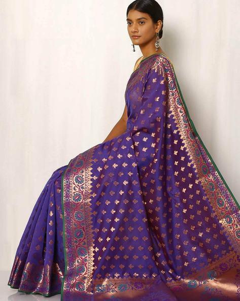 Banarasi Woven Zari Cotton Silk Saree By Indie Picks ( Purple ) - 460012425001