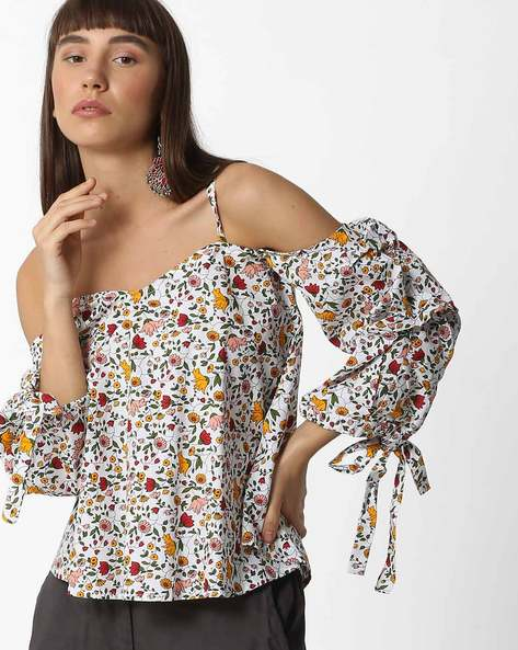 Cold-Shoulder Floral Print Top By AJIO ( Offwhite )