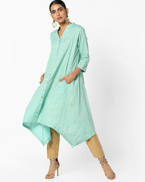Printed Kurta With Dipped Hemline By Project Eve IW Casual ( Green )