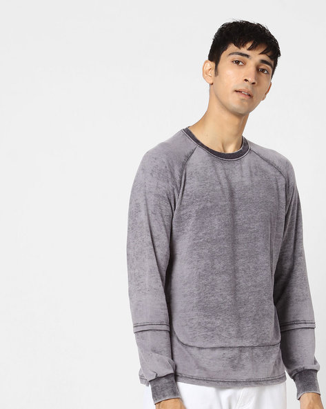 Crew-Neck Sweatshirt With Raglan Sleeves By Blue Saint ( Lightgrey )