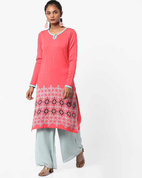 Knitted Kurta With Contrast Sleeve Hems By Melange By Lifestyle ( Coral )