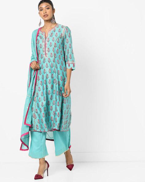 Floral Print Kurta Suit Set By Biba ( Turquoise )