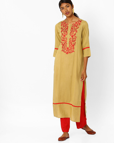 Embroidered Rayon Suit Set By Jaipur Kurti ( Cream )