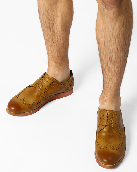 N9-Treated Derby Shoes With Broguing By AJIO ( Tan )