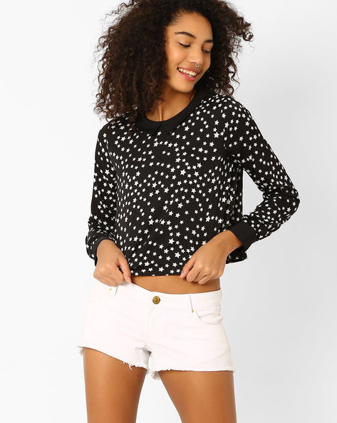 Printed Crop Top With Peter-Pan Collar By Oxolloxo ( Black )