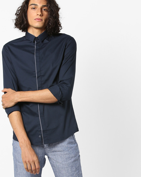Slim Fit Shirt With Concealed Placket By Celio ( Blue )
