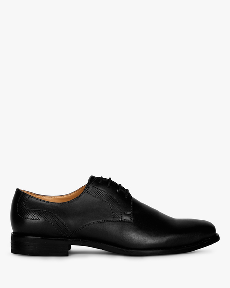 Plain-Toe Derby Shoes With Perforations By Piaffe ( Black )