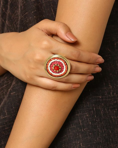 Beaded Adjustable Ring By Indie Picks ( Red )
