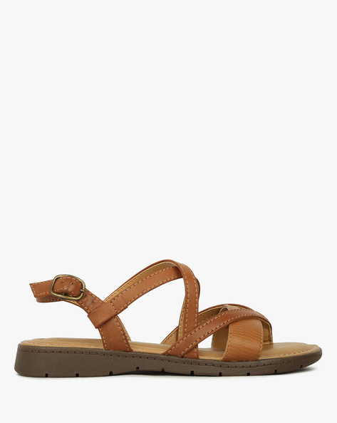 Strappy Flat Sandals With Buckle Closure By COMFORT PLUS ( Tan )