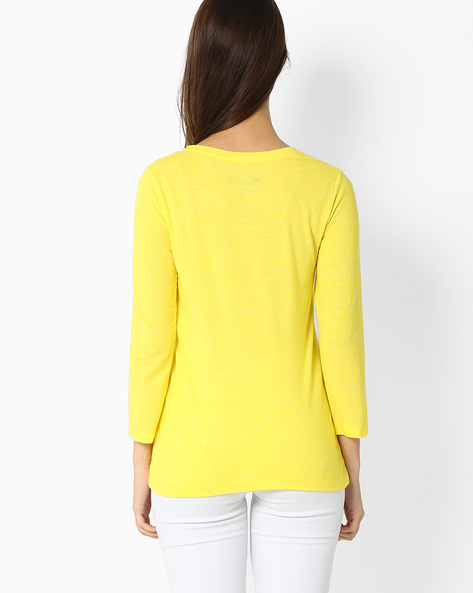 Printed Crew-Neck T-shirt By RIO ( Yellow )