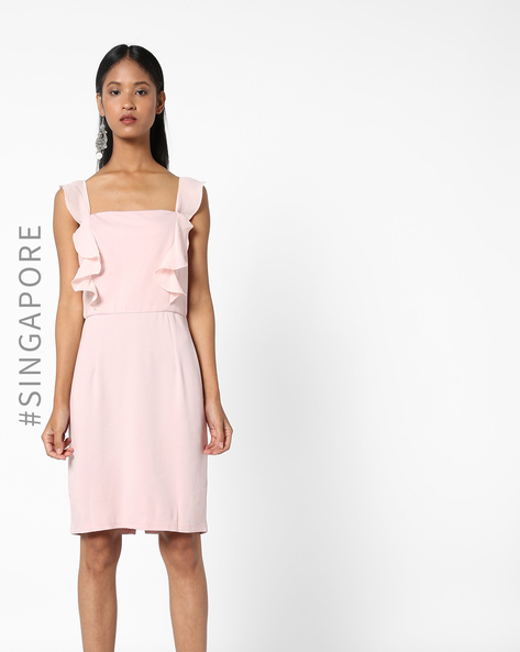 Sheath Dress With Ruffles By MDS ( Pink )