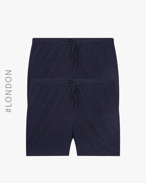 Pack Of 2 Striped Lounge Shorts By Marks & Spencer ( Navy )