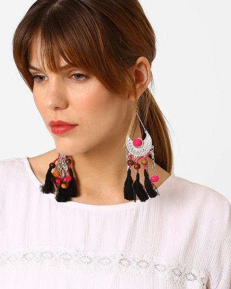 Embellished Tassel Drop-Earrings By BLUEBERRY ( Silver )