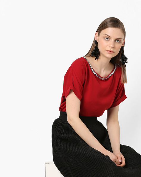 Embellished Top With Upturned Sleeves By Project Eve WW Evening ( Red )