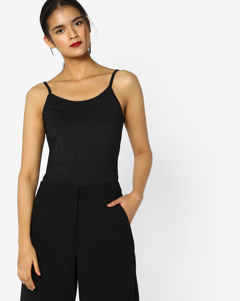 Spaghetti Top With Adjustable Straps By PE WW At Leisure ( Black )